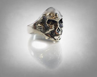 Iron Maiden Piece of Mind  skull biker ring solid sterling silver 925
