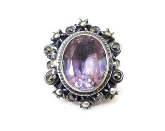 Vintage Sterling Amethyst Marcasite Ring - Silver 925, Art Deco Style, Purple Gemstone, February Birthstone, Vintage Ring, Size 5.25