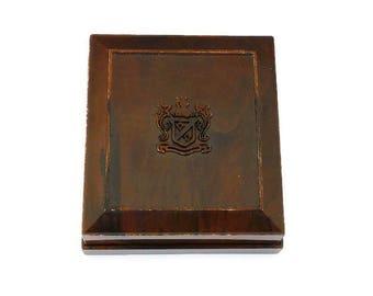 Alsten Brown Celluloid Jewelry Box - Alsten Company, Plastic, Family Crest, Made in USA, Vintage Jewelry Box, Trinket Box, Jewelry Storage