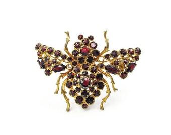 Garnet Bug Pin - Garnet Gemstones, Garnet Rhinestones, Insect Bee Fly, Vintage Brooch, Antique Jewelry