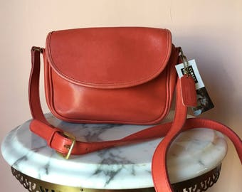 Vintage Coach Purse / Salmon Pink Leather Shoulder Bag / Rare Coach Bag / Small Crossbody Shoulder Bag