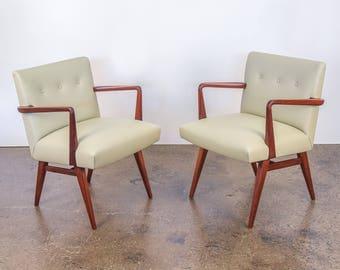 Pair of Jens Risom Model 108 Walnut Side Chairs