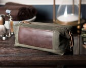 Waxed Canvas Dopp Kit: Personalized, Expandable, Water-Resistant, Hanging Toiletry Bag, Travel, Olive Green - No. 321 (Made in the USA)