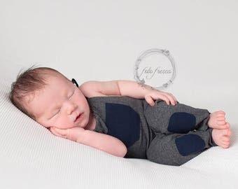 Grey Newborn Photography Prop - Boy Romper Prop - Newborn Boy Photo Prop - Grey Navy Newborn Prop - Baby Boy Prop - Newborn Photo Outfit