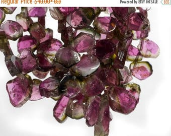 ON SALE Watermelon Tourmaline Beads Slices Nuggets Pink and Green Tourmaline Bicolor Earth Mined Gems - 4 or 8-Inch Strand - 5x4 to 7x5mm