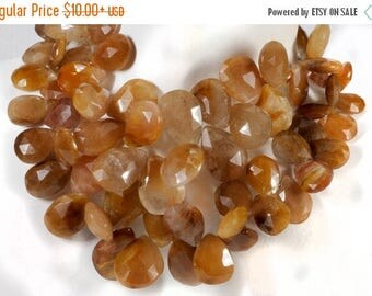ON SALE Copper Quartz Beads Faceted Copper Rutilated Quartz Pears Briolettes Flat Teardrops  3, 5 or 7 Beads  -  15 x 10 to 17 x 11mm