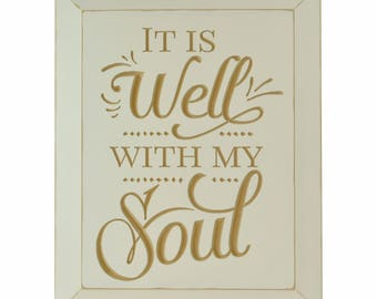It Is Well With My Soul Carved Wood Sign With Beveled Edge 12x15