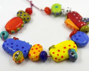 Picasso bead set , artist made multicoloured lampwork glass multicolored assorted beads