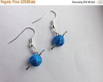 SALE Crochet Hook Earrings, Blue Yarn Ball, Crochet Gift, Mini Hook, Crochet Jewelry, Silver Dangle, Fish Hook, Blue, Purple, White, Custom