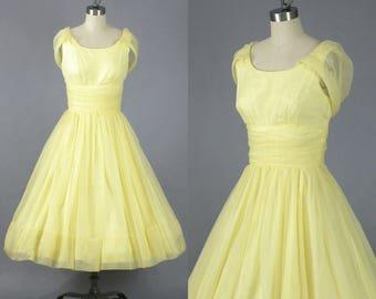 HOLD for Kim 50s Dress, Vintage 1950s Prom Dress, Yellow Chiffon Party Dress, VLV Rockabilly Dress, Jr. Theme NY