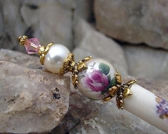 CIJ SALE Floral Hair Stick Pink Rose Tensha with Cream Pearl Geisha Hair Picks Hair Accessories Flower Chignon Pin Roses Haarstab Hair Pins