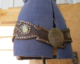 Vintage Leather and Brass Rivet Steampunk Belt, Moroccan Belt Naturally Aged Leather Pirate Belt, Large Brass Buckle