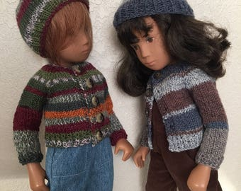 Choice of Striped Cardigan and Hat, for Sasha or Gregor Doll
