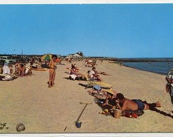 Town Beach Scene People West Dennis Cape Cod Massachusetts postcard