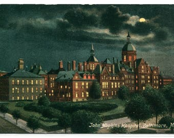 John Hopkins Hospital at Night Baltimore Maryland 1910c postcard