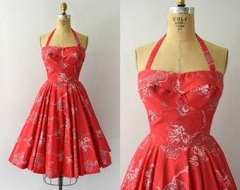 Vintage 1950s Dress - 50s Hot Pink Hawaiian Sundress