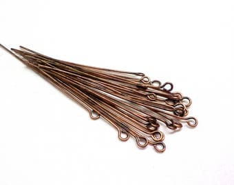"Raw Copper Eye Pins, Eye Head Pins, Wire Wrapping Jewelry, 21 Gauge Headpins, 50mm /0.7mm (2""/0.028"") - 25 pieces"