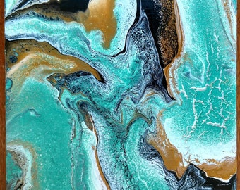 """SALE / Abstract Acrylic Fluid Painting / 7.75"""" x 7.5"""" / Black, Gold, Teal"""
