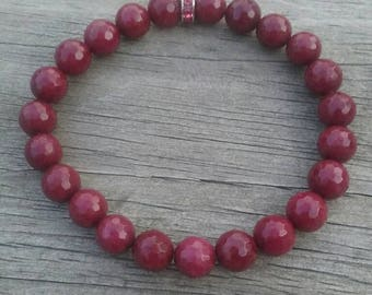 Dyed Faceted Ruby Stretch Bracelet