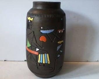 Vintage Mid Century Fratelli Fanciullacci Egyptian Italian Cermaic Vase