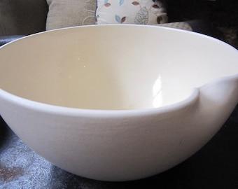 "RARE Elsa Peretti Tiffany Italian Glazed/Matte Beige Thumbprint Bowl 10"" X 5"" LARGE Mid 70's Chic"