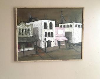 Fantastic Mid Century Modern CityScape Original Painting