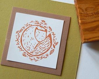 Autumnal Fox Olive Wood Stamp