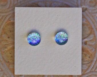 Dichroic Glass Earrings , Green Lilac  DGE-1221