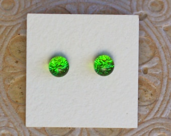 Dichroic Glass Earrings, Petite, Emerald Green  DGE-1223