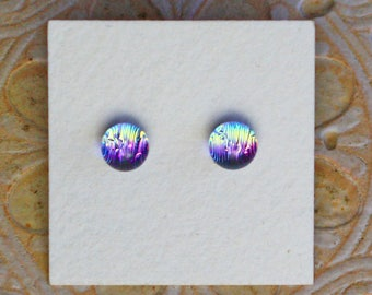 Dichroic Glass Earrings , Petite, Light Green/ Pink DGE-1250