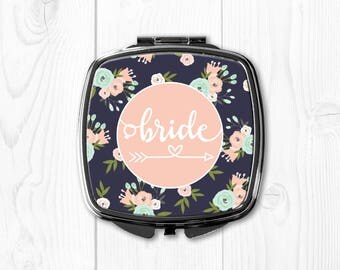 Wedding Party Gifts Wedding Party Favors Bride Gift Ideas Bride Gift from Maid of Honor Bride Compact Mirror Pink Floral nvywed1