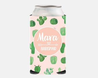 Cactus Bridesmaid Gift Ideas Pink Bridesmaid Gift Ideas Bridesmaid Can Cooler Cactus Wedding Favors Bachelorette Party Gifts Pink and Green