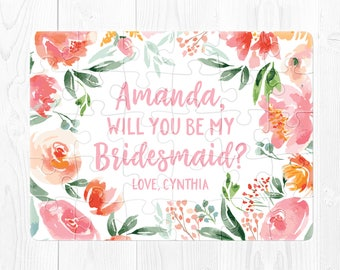 Will You Be My Bridesmaid Puzzle Proposal Bridesmaid Proposal Puzzle Bridesmaid Proposal Card Bridesmaid Proposal Gift Puzzle Coral Pink Fun
