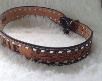 Vintage Leather Worked Boho Style Country Western Belt