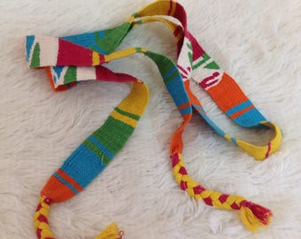 Vintage 90s Bright Colored Mexican Boho Style Tie Belt