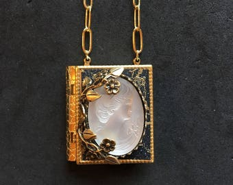 Frosted Glass Cameo - miniature book necklace