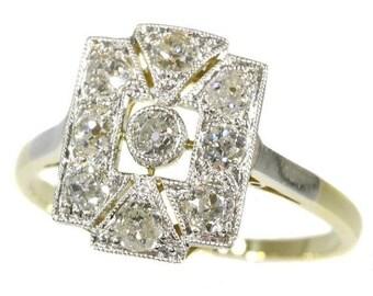 ON SALE Art Deco diamond engagement ring 18k gold old mine brilliant cut diamonds 1920s