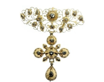 ON SALE Early 19th century antique cross pendant set with rose cut diamonds
