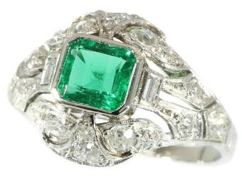 Natural Colombian emerald ring deep green fine color quality platinum old European cut diamonds 1.50ct vintage Art Deco engagement ring