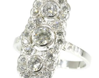 Three center diamond engagement ring platinum brilliant cut diamonds 1.78ct vintage ring