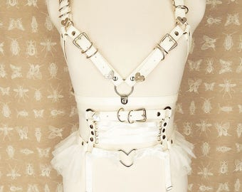 White Frill and Corset Body Harness Set, White Tutu Corset Harness Set, White Corset Harness Set, White Burlesque Harness Set, BDSM Harness