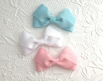 "Easter Hair Bows ~ Pastel Hair Bow Clips ~ Little Girl / Toddler Hair Bow Clips ~ Simple Hair Bows ~ Flat Style 3"" Hair Bows"