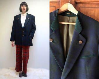 Austrian Jacket //  German Jacket  // Trachten Jacket  //  Plaid Wool Jacket  //  Navy Blue Sport Coat  //  Mens Suit Jacket // THE HIGHLAND