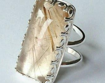 Sterling silver handmade natural golden rutilated quartz ring, Hallmarked in Edinburgh