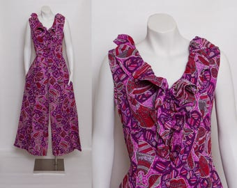 vintage palazzo jumpsuit | 1960s purple Hawaiian print