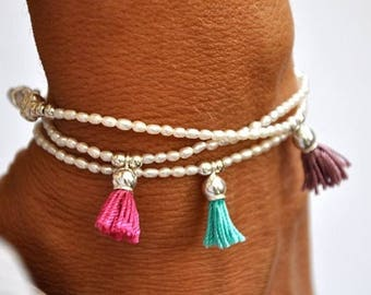 SALE Fresh water pearl and sterling silver tassel bracelet. Tassel Bracelet.