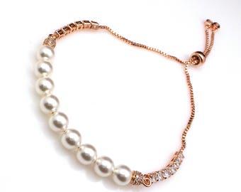 bridal jewelry wedding bridal bracelet 6mm Swarovski white round crystal pearl rose gold cubic zirconia rondelle spacer adjustable slider