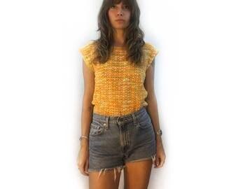 Vintage loose knit striped sweater vest // small medium