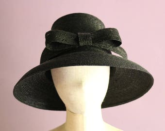 "Ribbon Straw Hat ""Greta Black"""