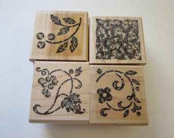4 rubber stamps - STIPPLED STENCILS floral two step stampin' - Stampin Up 2004